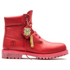 Wiz Khalifa wearing Bee Line x Timberland Red Boots UpscaleHype ❤ liked on Polyvore featuring boots and shoes