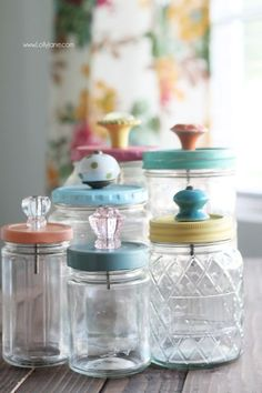 Acrylic paint. Foam brushes. Sealer. Old food jars recycled or mason jars. Drill and bit. Assortment of knobs.