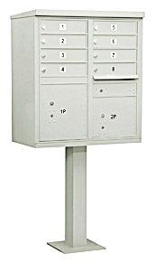 Cluster Box Unit (Includes Pedestal and Master Commercial Locks) - 8 A Size Doors - Type I - Gray - Private Access by Salsbury Industries. $1066.01. Salsbury 3300 series USPS approved Cluster Box Units (CBU's) are accessed from the front through two (2) opening master door panels. The durable and corrosion resistant units feature a powder coated finish. Each CBU includes one or two (2) fully integrated parcel lockers and a matching pedestal. Each door includes a heavy duty five ...