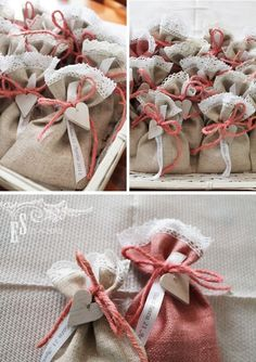 Agape Gift Bags made of burlap, lace, ribbon and wooden charm or button. Rustic Wedding Favors, Diy Wedding, Wedding Gifts, Wedding Decorations, Burlap Crafts, Diy And Crafts, Deco Rose, Lavender Bags, Gift Bags