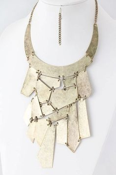 Antique Gold Tone Bib Necklace