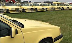 The gathering of the Volvo 850, Volvo Cars, Dream Cars, Tanks, Brick, Classic Cars, Yellow, Beauty, Collection