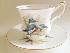 Playful Kingfisher Tea Cup and Saucer Royal by AprilsLuxuries