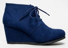 Qupid Women's Lace Up Faux Suede Ankle Wedge Booties