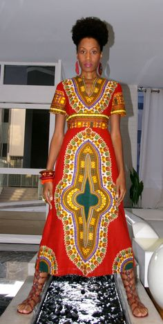 Empire Waist Dashiki Dress Red and Royal Blue see by JahzaraDesign African Attire, African Wear, African Women, African Dress, African Style, African Dashiki, African Inspired Fashion, African Print Fashion, Africa Fashion