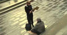 Ella le quitó el cartel a un ciego vagabundo y le hizo ESTO… ¡No puedo creer como reacciono la gente!