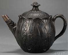 Wedgwood Black Basalt Leaf Molded Teapot