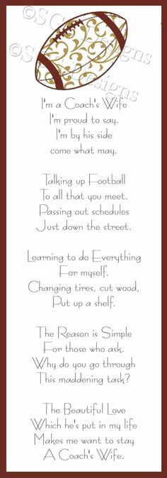 Coach's Wife Poem Printable by SouthernGypsySoul on Etsy, $10.00