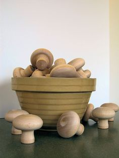 Wood Mushrooms large by BARAPSpecials on Etsy