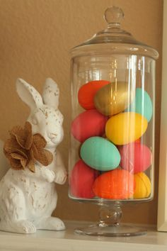 Paint styrofoam eggs and put in jar for pop of color and fun in nursery or any room! Thx @obs form Nursery | Junior