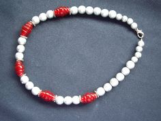 Silver Grey and Red Necklace £14