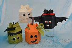 Tutorial for Halloween Boxes from Candy Wrapper Die