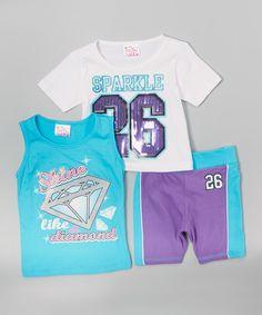 Look at this #zulilyfind! Purple & Aqua 'Sparkle 26' Tank Set - Infant, Toddler & Girls by KidZone #zulilyfinds