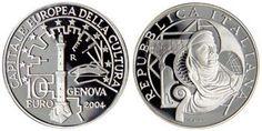 10 euroo argento proof Italia 2004