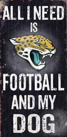 "Jacksonville Jaguars Wood Sign - Football and Dog 6""""x12"""""