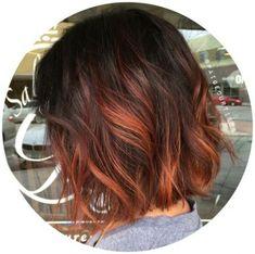 balayage hair, underlights hair at hair Hair Color And Cut, Ombre Hair Color, Red Ombre, Ombre Ginger Hair, Short Red Hair, Short Ombre, Long Hair, Cheveux Oranges, Underlights Hair