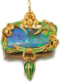Gold, opal and enamel brooch/ pendant, Marcus & Co, circa 1900.   Centring on an opal within a frame of irises decorated with green guilloché enamel, suspending a fluted drop, signed Marcus & Co.
