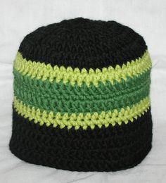 Tricolor Striped Beanie Crochet PATTERN
