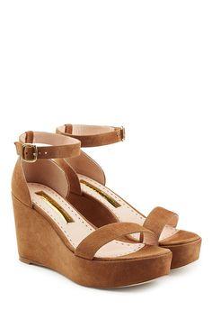 RUPERT SANDERSON Suede Platform Sandals. #rupertsanderson #shoes #
