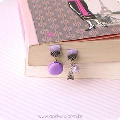 marcador de páginas paris com macaron - cute polymer clay food miniatures, sweet bookmarks and kawaii jewellery - pokkuru
