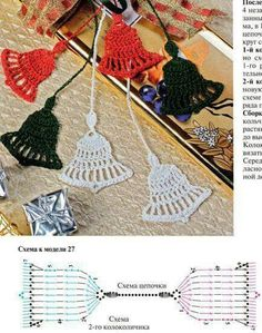 Crochet Christmas Ornaments - Charts by katharine - Salvabrani Crochet Christmas Decorations, Christmas Crochet Patterns, Crochet Ornaments, Holiday Crochet, Crochet Snowflakes, Crochet Gifts, Christmas Bells, Christmas Crafts, Crochet Bookmarks