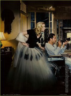 "Scarlett Johansson & Javier Bardem photographed by Annie Leibovitz for Vanity Fair US March 2008 - ""Rear Window"" ---- I would *love* to do a photoshoot like that. Annie Leibovitz Photos, Annie Leibovitz Photography, Famous Photographers, Portrait Photographers, Vanity Fair, Glamour, Javier Bardem, Actors, Celebs"