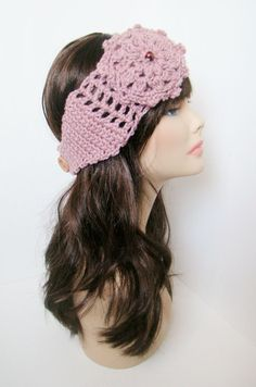 """Ear Warmer with Aster flower - Rose Pink. $18.00, via Etsy. Coupon code """"Pin10"""" saves you 10%! #christmas #gift #giftguide #giftsforher #crochet #etsy #yarn"""