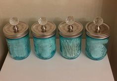 Jars, lids, glass knobs from Target. Products in the jars are from Walmart.