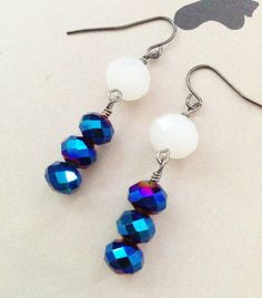 Blue Iridescent and White Earrings by CharlotteisChaCha on Etsy, $7.00