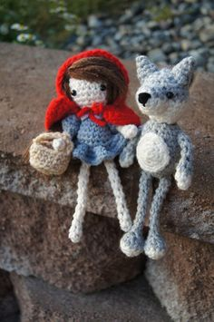 Little Red Riding Hood with Wolf amigurumi crochet pattern  http://mybackyardmonsters.tumblr.com/post/31480559904/little-red-pattern