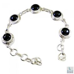 Riyo Unusual Black Onyx 925 Solid Sterling Silver Black Bracelet Sbrabon-6016