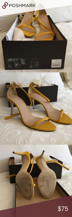 J. Crew Shoes Strappy high heel sandals - Retro lemon color. Size 7.5 - barely worn in excellent condition. Perfect lemon shade with black jeans or dress. J. Crew Shoes Heels