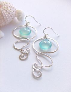 Waikiki Jellyfish Sterling Silver Jewelry Earrings, Statement Earrings, Sea Aquamarine, Chalcedony briolettes, Gift for Her, Under 30