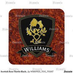 Scottish Rose Thistle Black Gold Burl Beverage Coaster