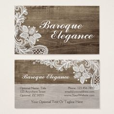 Cyanskydesign on etsy creative small business branding and vintage baroque lace on rustic elegant barn wood business card country branding marketing by cyanskydesign reheart Image collections
