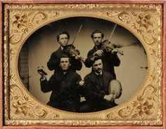 duaguerrotype (flipped) guessing Irish musicians playing fiddles, bodhran and bones Antique Photos, Old Photos, Vintage Photographs, Vintage Photos, Band Pictures, Daguerreotype, Dance Photography, Light In The Dark, Artwork