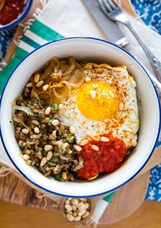 Recipe: Brown Rice Bowl with Lentils, Caramelized Onions & Fried Egg | Kitchn