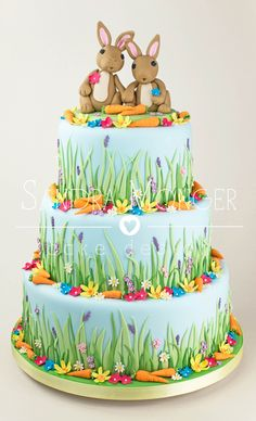 Bunny Rabbit Wedding Cake With Carrots And Spring Flowers