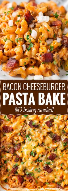 No-Boil One Pan Bacon Cheeseburger Pasta Bake | This weeknight dinner recipe is a tasty twist on an American classic, the bacon cheeseburger. One pan, no pre-cooking the beef, and no boiling the pasta. it all bakes together into the best bacon cheeseburger pasta bake or casserole ever!! | The Chunky Chef