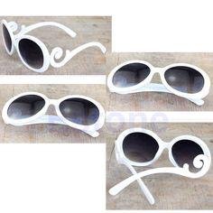 Vintage Retro Womens Mens Unisex Sunglasses Designer Round White Glasses Eyewear #RetroSun #Designer