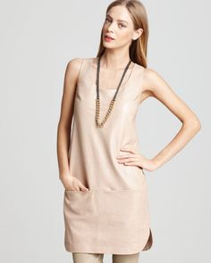 Vince || Beige Leather Seamed Two Pocket Sleeveless Shift Tank Cocktail Dress || #Onlineshopping