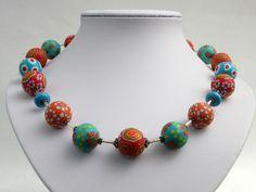 Ketten kurz - Blütenkette Hawai Polymer clay Lampwork  Design - ein Designerstück von filigran-Design bei DaWanda