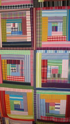 Thrift Shop Quilt: Wonky Log Cabin made from men shirts, great idea to use for the homespun scraps