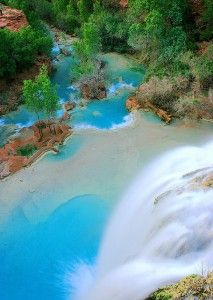 Havasu Falls, Grand Canyon National Park, USA. Havasu Falls is known throughout the world and has appeared in numerous magazines and television shows, and is often included in calendars that feature incredible waterfalls or beautiful scenery. Visitors from all over the world make the trip to Havasupai primarily for Havasu Falls.