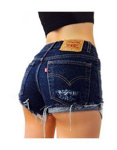 Levis Shorts  High Waisted Cutoffs Denim Cheeky  by BaileyRayandCo