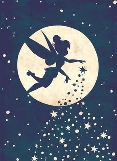 Disney Fairy, Tinkerbell, sprinkling her pixie dust as she flies past the moon and the stars Hades Disney, Disney Amor, Disney Love, Disney Magic, Sf Wallpaper, Disney Wallpaper, Tinkerbell Wallpaper, Wallpaper Quotes, Disney E Dreamworks