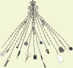 This large chatelaine was purchased by Queen Victoria in January This example is typical of the chatelaines produced in the incorporating tools for sewing, writing implements, a small purse and an almanac, as well as several purely decorative charms. Reine Victoria, Queen Victoria, Antique Jewelry, Vintage Jewelry, Vintage Outfits, Vintage Fashion, Historical Clothing, Historical Photos, Victorian