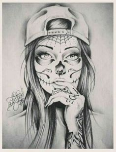 black and white sugar skull girl tattoo Tattoo Bein Frau, Tattoos Bein, Arm Tattoos, Body Art Tattoos, Sleeve Tattoos, Celtic Tattoos, Tatoos, Chicano Art Tattoos, Gangster Tattoos