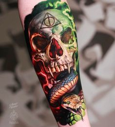 World Famous Tattoo Ink, Famous Tattoos, World Tattoo, Tattoos For Guys, Cool Tattoos, Harry Potter Tattoos, Harry Potter 2, Wicked Tattoos, Inked Magazine