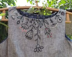 100% handmade linen dress with hand embroidery